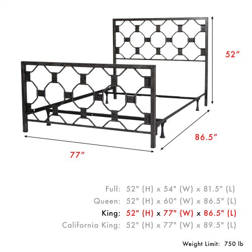 Baxter Complete Metal Bed and Steel Support Frame with Geometric Octagonal Design, Heritage Silver Finish, King