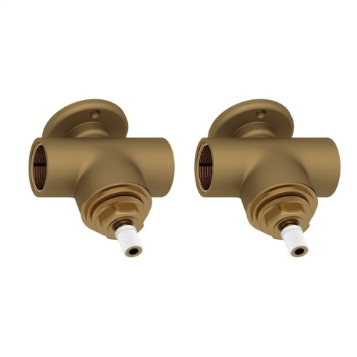 """Perrin & Rowe Pair 3/4"""" Valves Roughs For Wall Mount Cross Set"""