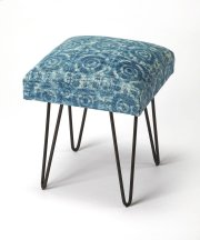 This whimsical modern stool has a subtle psychedelic vibe. Its blue tone-on-tone square cotton upholstered seat is beautifully supported by four iron hairpin legs. Product Image