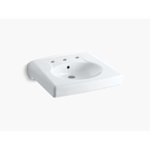White Wall-mounted or Concealed Carrier Arm Mounted Commercial Bathroom Sink With Widespread Faucet Holes, Antimicrobial Finish
