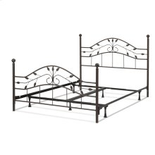 Sycamore Complete Metal Bed and Steel Support Frame with Leaf Pattern Design and Round Final Posts, Hammered Copper Finish, King