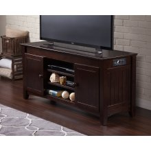 Nantucket 50 inch Entertainment Console with Adjustable Shelves and Charging Station in Espresso