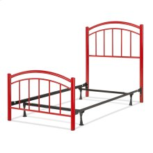 Rylan Fashion Kids Complete Metal Bed and Steel Support Frame with Gently Arced Panels and Vertical Spindles, Tomato Red Finish, Full