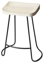 The intriguing lines of the black wrought-iron base provide the perfect complement to the white-washed finish on the sculpted solid mango wood seat, ensuring this Bar Stool is as stylish as it is practical. Product Image