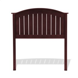 Finley Wood Headboard Panel with Curved Top Rail and Slatted Grill Design, Merlot Finish, Twin
