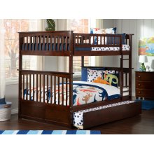 Columbia Bunk Bed Full over Full with Urban Trundle Bed in Walnut