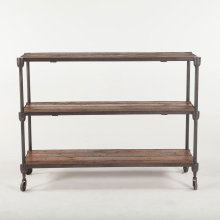 Industrial Teak Console Table Wheeled 50""