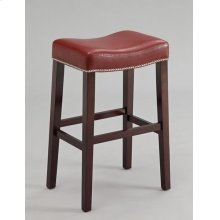 COUNTER HEIGHT STOOL W/RED PU