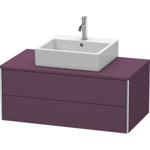Vanity Unit For Console Wall-mounted, Aubergine Satin Matt Lacquer