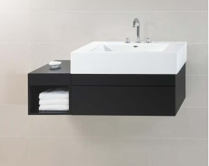 "Rebecca 36"" Wall Mount Bathroom Vanity Base Cabinet in Black Product Image"