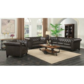 Roy Traditional Brown Three-piece Living Room Set