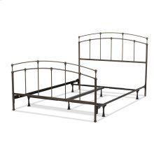 Fenton Complete Bed with Metal Duo Panels and Globe Finials, Black Walnut Finish, Queen