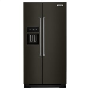 Kitchenaid22.7 Cu. Ft. Counter Depth Side-by-Side Refrigerator with Exterior Ice and Water Black Stainless Steel with PrintShield™ Finish