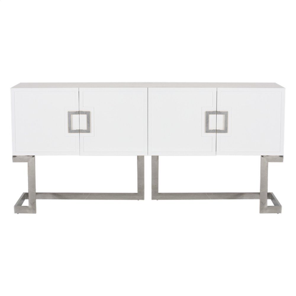 White Lacquer Media Console With Stainless Steel Base & Square Handles