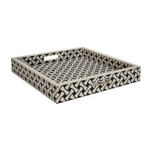 Large Weave Pattern Square Tray In Black and White Resin
