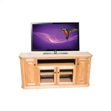 "O-TF299 Traditional Oak 65"" Clipped Corner TV Console"
