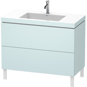 Furniture Washbasin C-bonded With Vanity Floorstanding, Light Blue Matt Decor