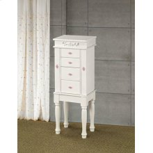 Traditional White Jewelry Armoire With Pink Interior
