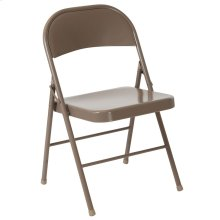 Double Braced Beige Metal Folding Chair