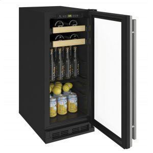 """U-Line1000 Series 15"""" Beverage Center With Stainless Frame Finish and Field Reversible Door Swing (115 Volts / 60 Hz)"""