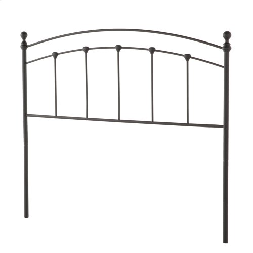 Sanford Metal Headboard Panel with Castings and Round Finial Posts, Matte Black Finish, Queen