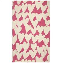 Hearts Pink Cream Loop Hooked Rugs