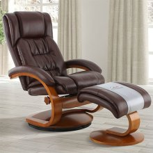 Narvick Recliner and Ottoman in Whisky Breathable Air Leather