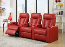 Camden Red Bonded Leather 3-Piece Reclining Theater Set