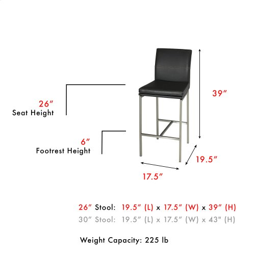 Phoenix Counter Stool with Stainless Steel Finished Metal Frame, Curved Seatback and Obsidian Faux Leather Upholstery, 26-Inch Seat Height