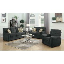 Fairbairn Casual Charcoal Three-piece Living Room Set