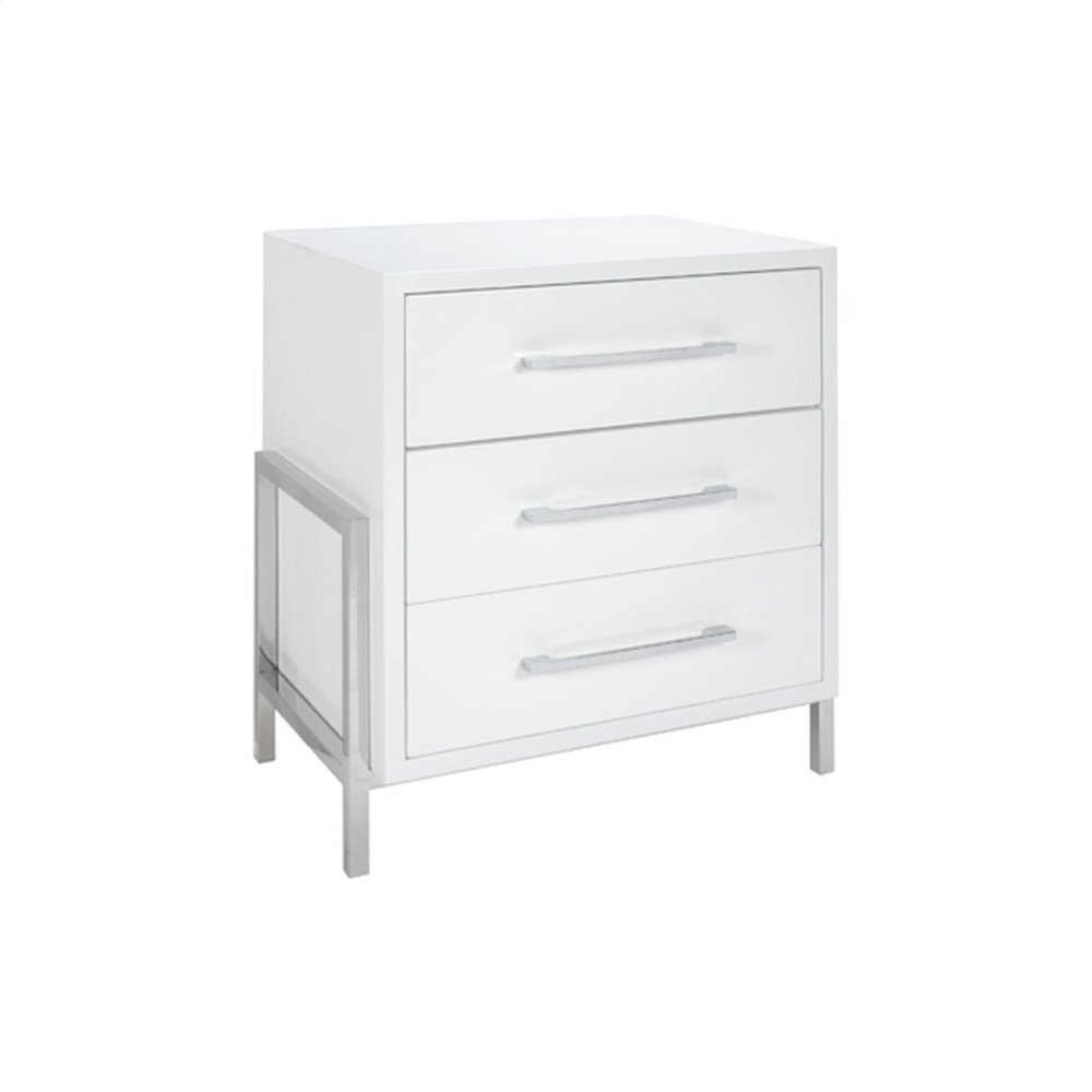 White Lacquer 3 Drawer Side Table With Nickel Base & Hardware