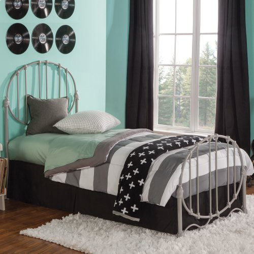 Emory Kids Bed with Metal Duo Panels and Oval Shape Design, Grey Finish, Twin