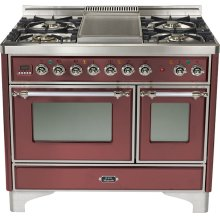 "Burgundy 40"" Griddle Top Majestic Techno Dual Fuel Range"