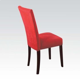 RED MICROFIBER SIDE CHAIR