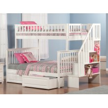 Woodland Staircase Bunk Bed Twin over Full with Raised Panel Bed Drawers in White
