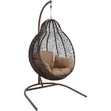 Outdoor Wicker Pod Swing with Full Hazelnut Cushion