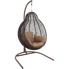 Outdoor Wicker Pod Swing with Full Hazelnut Cushion
