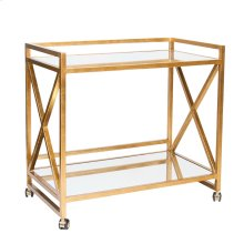 "Gold Leafed ""x"" Bar Cart With Mirrored Tops."