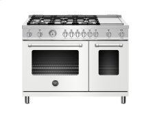 48 inch All Gas Range, 6 Burner and Griddle Matt White