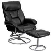 Contemporary Black Leather Recliner and Ottoman with Metal Base