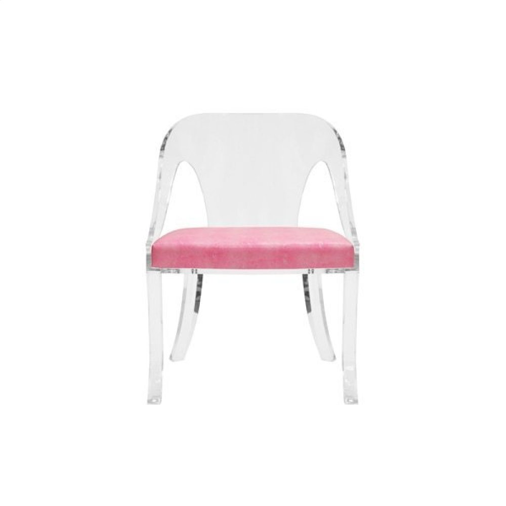 """Round Back Acrylic Chair With Faux Pink Shagreen Cushion Seat Height: 17.5"""""""