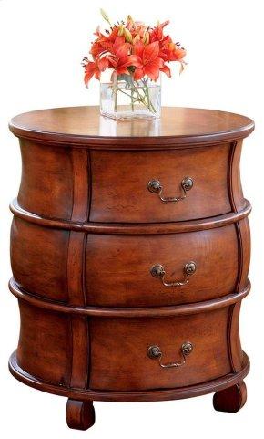 Selected hardwoods and choice veneers. Maple, walnut and cherry veneers inlay design on top. Three drawers.