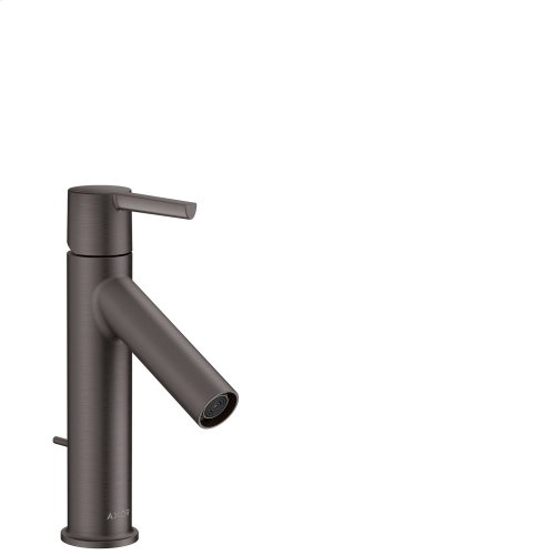 Brushed Black Chrome Single lever basin mixer 100 with lever handle and pop-up waste set