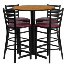30'' Round Natural Laminate Table Set with 4 Ladder Back Metal Barstools - Burgundy Vinyl Seat