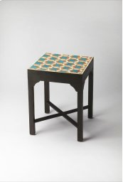 This distinctive bunching table is a great standalone piece or makes a bold statement when grouped together. Featuring a beautiful melange of teal and orange, it is expertly crafted with bone inlays on top and a base made from select wood solids and wood