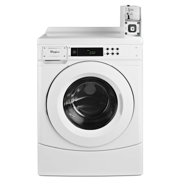 """Whirlpool 27"""" Commercial High-Efficiency Energy Star-Qualified Front-Load Washer Featuring Factory-Installed Coin Drop with Coin Box White"""