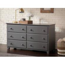 Atlantic 6 Drawer 54 inch Dresser in Atlantic Grey