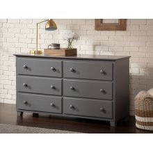 Atlantic 6 Drawer 54 inch Dresser in Atlantic Grey