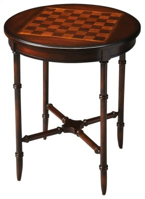 Evocative of a Chinese Chippendale antique, this charming game table will add fun and sophistication to most any space. Carefully crafted from select hardwood solids and wood products, it features a rich Plantation Cherry finish with a cherry veneer top a