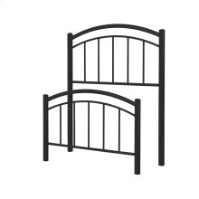 Rylan Fashion Kids Metal Headboard and Footboard Bed Panels with Gently Arced Top Rails and Vertical Spindles, Black Ink Finish, Full